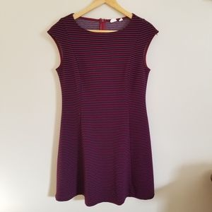 Gap red and navy striped cap sleeve dress